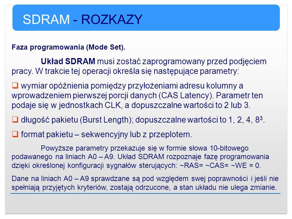 SDRAM - ROZKAZY Faza programowania (Mode Set).
