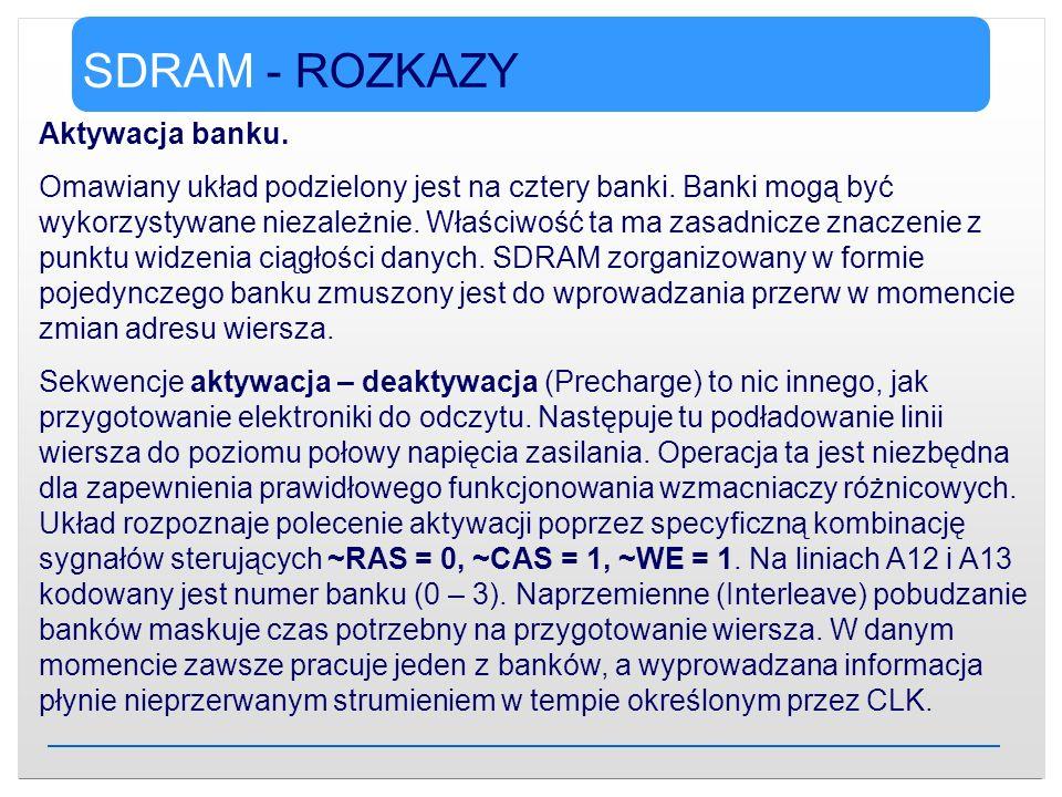 SDRAM - ROZKAZY Aktywacja banku.