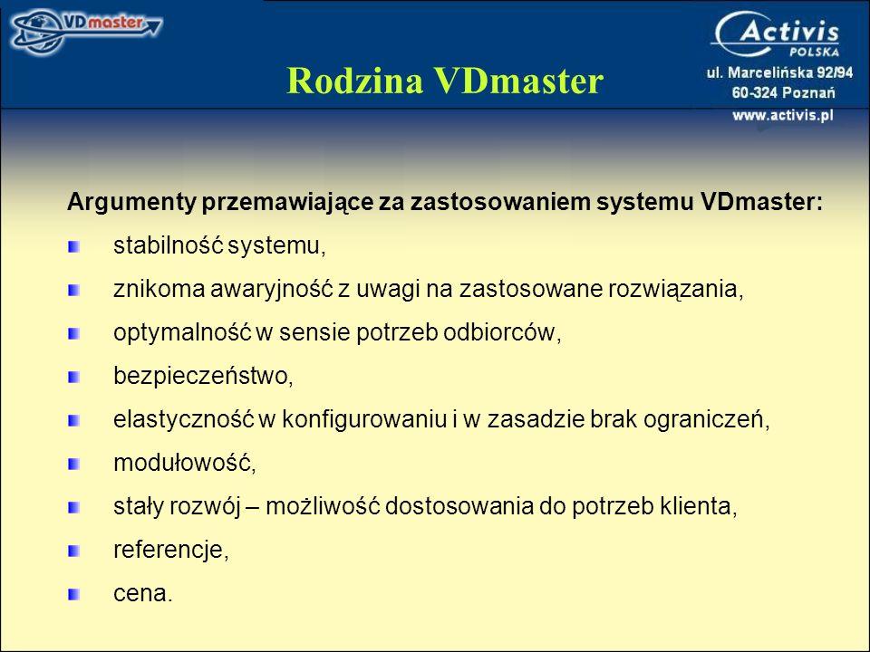 Rodzina VDmaster Argumenty przemawiające za zastosowaniem systemu VDmaster: stabilność systemu,