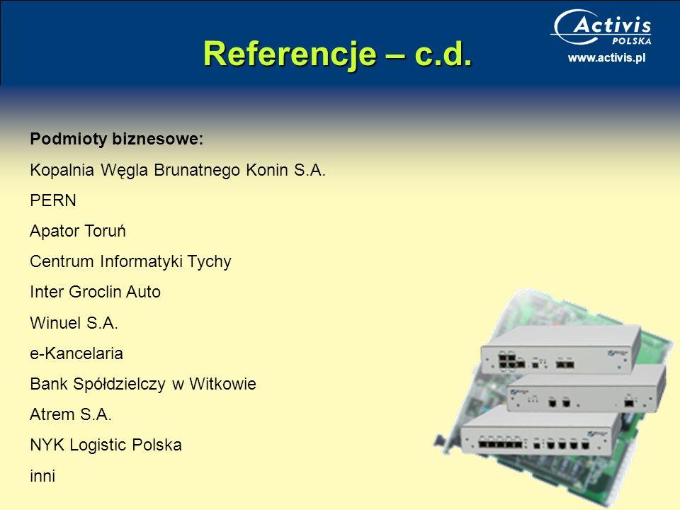 Referencje – c.d. Podmioty biznesowe: