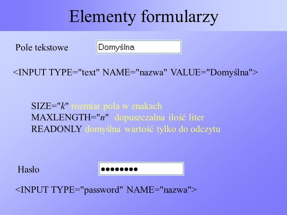 Elementy formularzy Pole tekstowe
