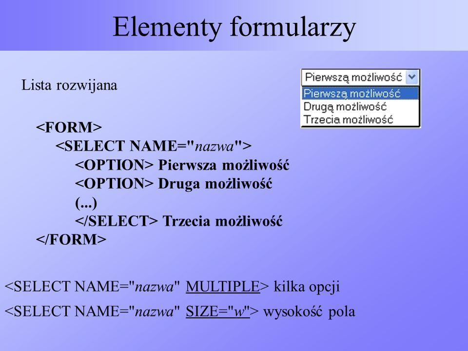 Elementy formularzy Lista rozwijana