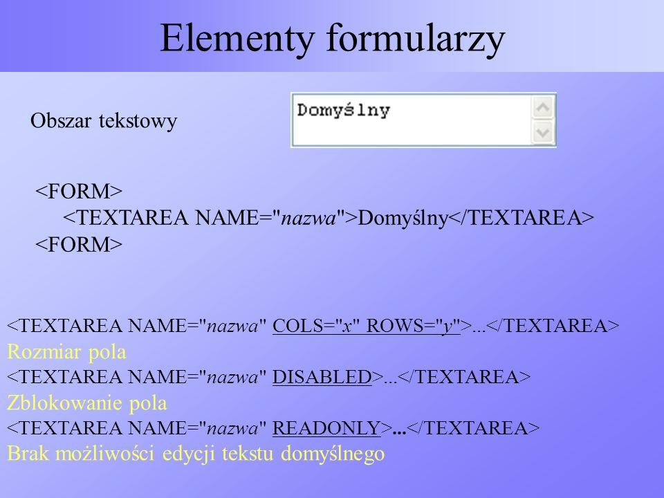 Elementy formularzy Obszar tekstowy