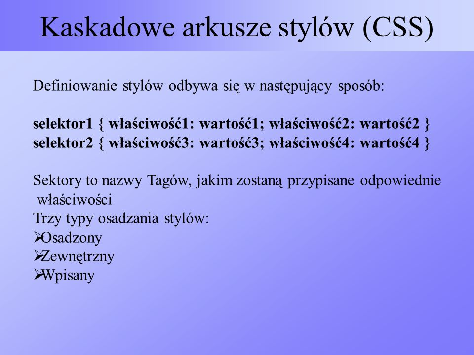 Kaskadowe arkusze stylów (CSS)