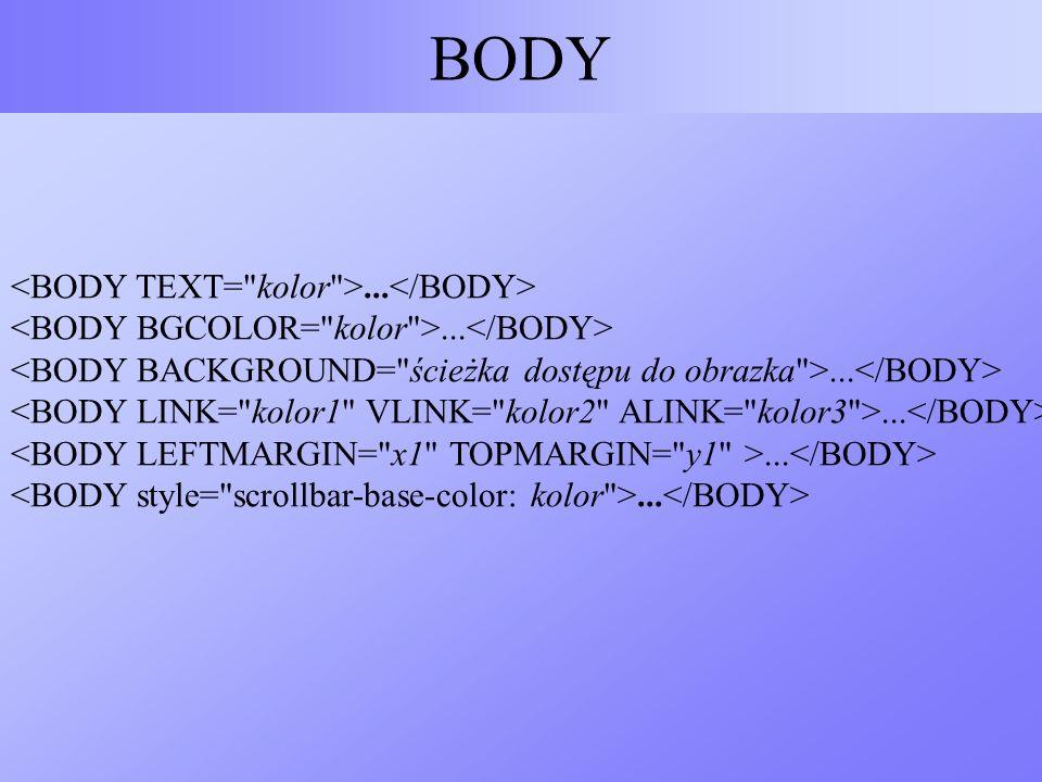 BODY <BODY TEXT= kolor >...</BODY>