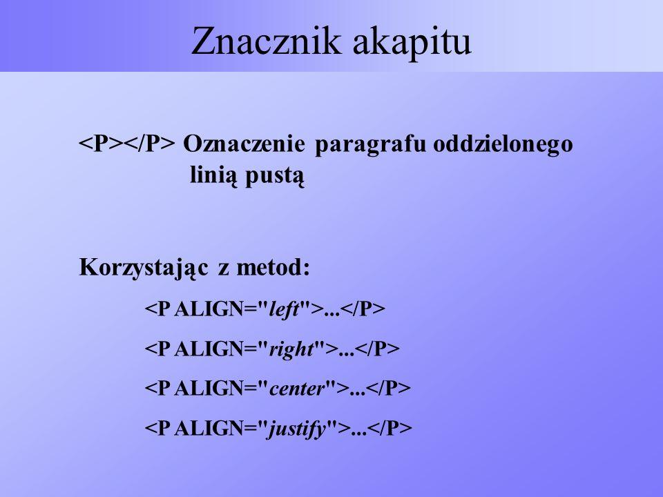 Znacznik akapitu <P></P> Oznaczenie paragrafu oddzielonego linią pustą. Korzystając z metod:
