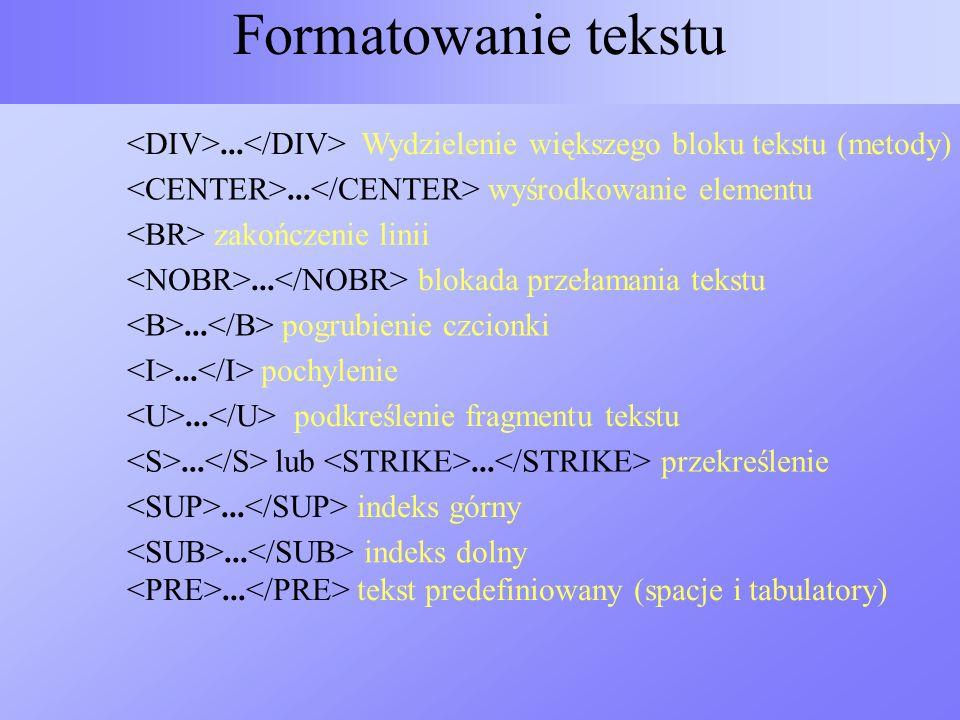 Formatowanie tekstu <DIV>...</DIV> Wydzielenie większego bloku tekstu (metody) <CENTER>...</CENTER> wyśrodkowanie elementu.