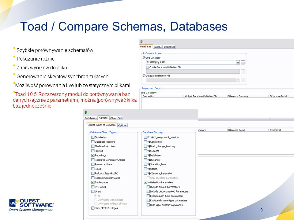 Toad / Compare Schemas, Databases