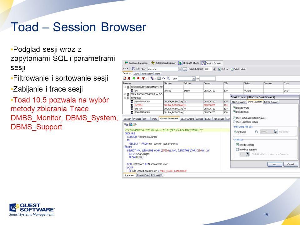 Toad – Session Browser Podgląd sesji wraz z zapytaniami SQL i parametrami sesji. Filtrowanie i sortowanie sesji.