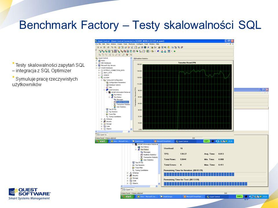 Benchmark Factory – Testy skalowalności SQL