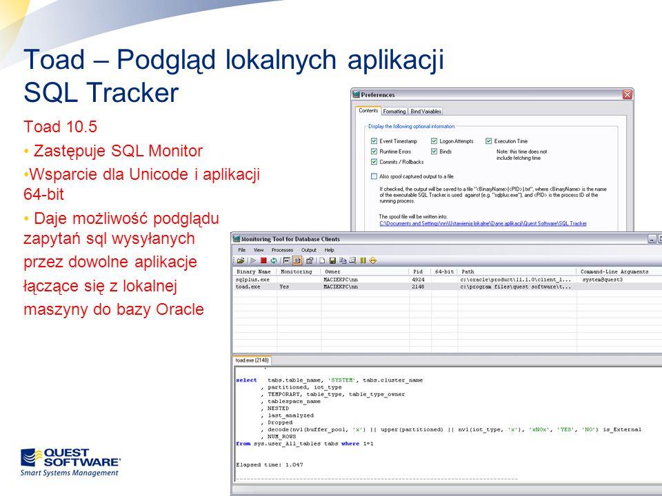 Toad – Podgląd lokalnych aplikacji SQL Tracker
