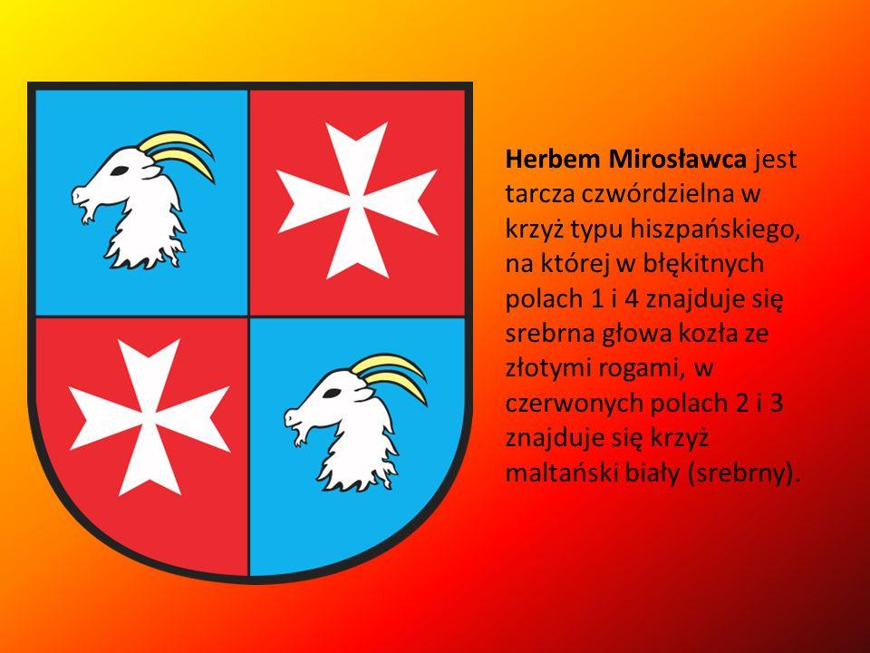 Herbem Mirosławca jest tarcza czwórdzielna w krzyż typu hiszpańskiego, na której w błękitnych polach 1 i 4 znajduje się srebrna głowa kozła ze złotymi rogami, w czerwonych polach 2 i 3 znajduje się krzyż maltański biały (srebrny).