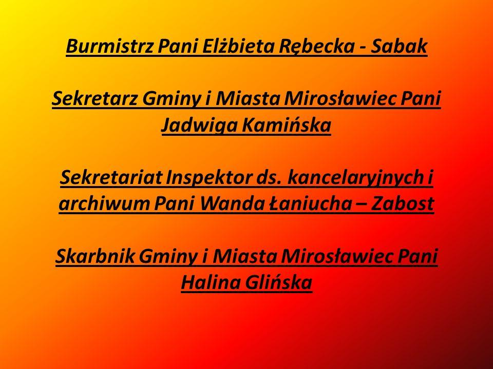 Burmistrz Pani Elżbieta Rębecka - Sabak Sekretarz Gminy i Miasta Mirosławiec Pani Jadwiga Kamińska Sekretariat Inspektor ds.