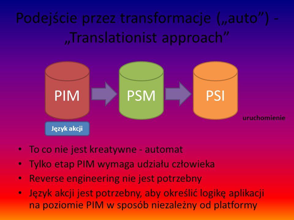 """Podejście przez transformacje (""""auto ) - """"Translationist approach"""