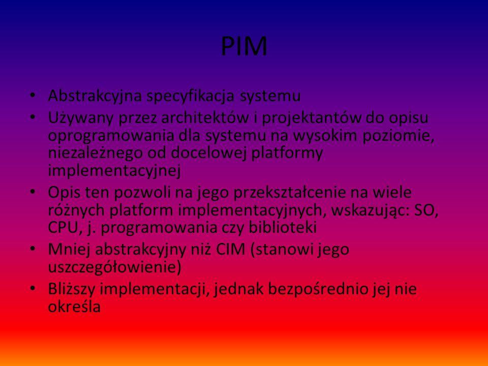 PIM Abstrakcyjna specyfikacja systemu