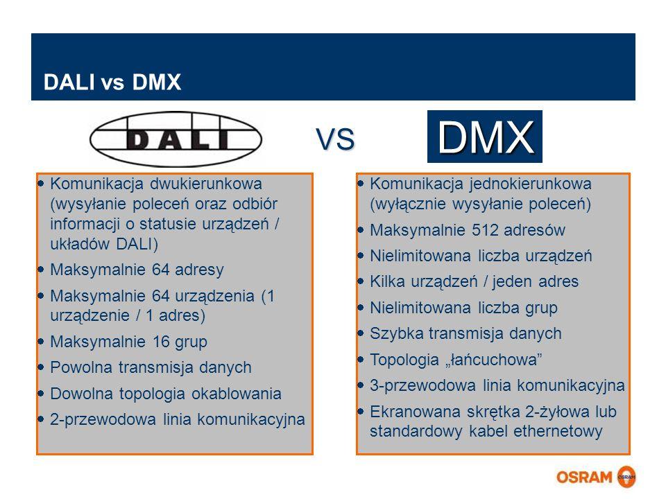 DALI vs DMX DMX. VS. Komunikacja dwukierunkowa (wysyłanie poleceń oraz odbiór informacji o statusie urządzeń / układów DALI)