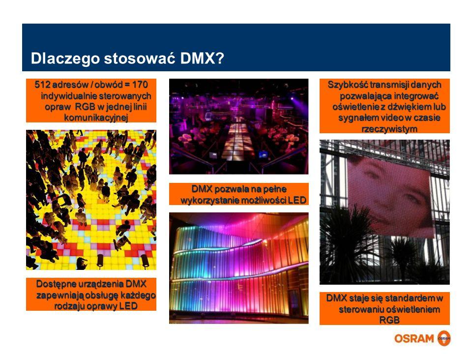Dlaczego stosować DMX 512 adresów / obwód = 170 indywidualnie sterowanych opraw RGB w jednej linii komunikacyjnej.