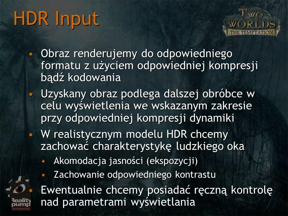 HDR Input Obraz renderujemy do odpowiedniego formatu z użyciem odpowiedniej kompresji bądź kodowania.