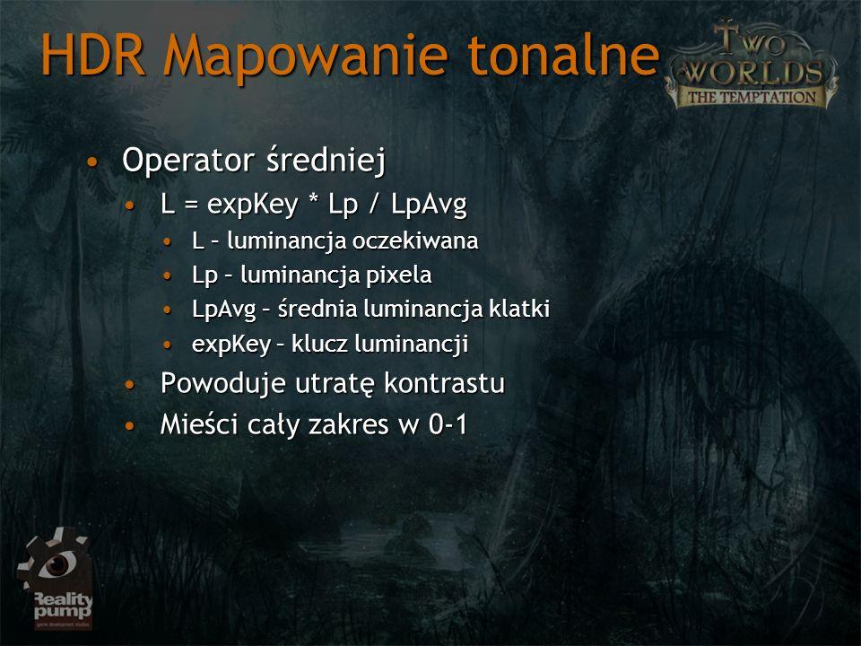 HDR Mapowanie tonalne Operator średniej L = expKey * Lp / LpAvg