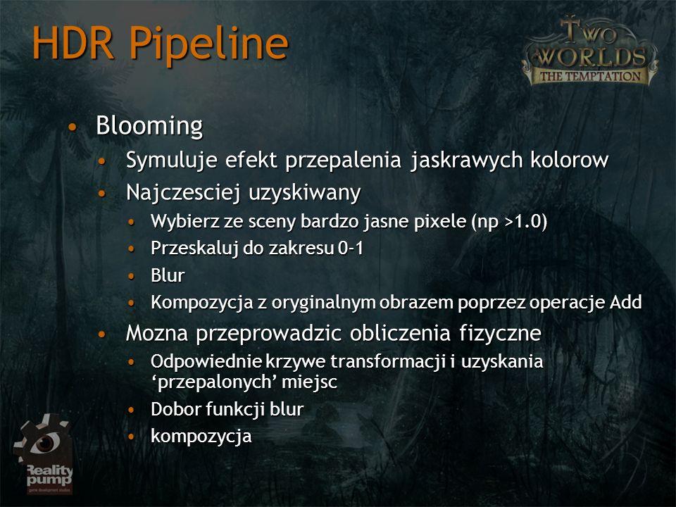 HDR Pipeline Blooming Symuluje efekt przepalenia jaskrawych kolorow