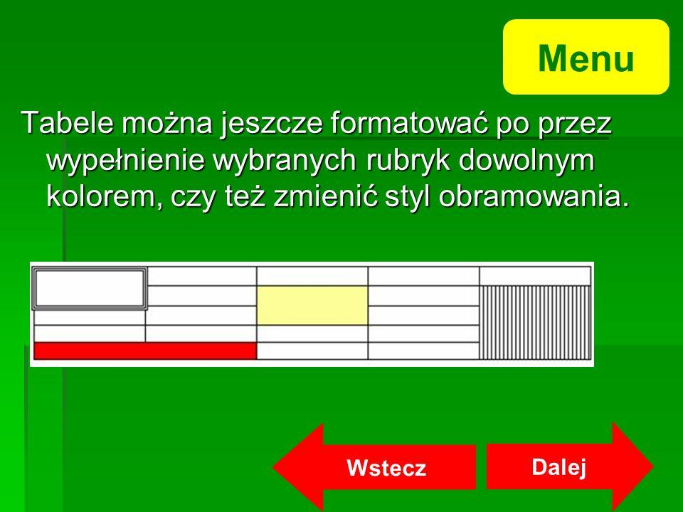 Menu Tabele można jeszcze formatować po przez wypełnienie wybranych rubryk dowolnym kolorem, czy też zmienić styl obramowania.