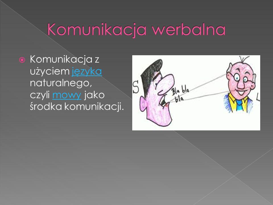 Komunikacja werbalna Komunikacja z użyciem języka naturalnego, czyli mowy jako środka komunikacji.