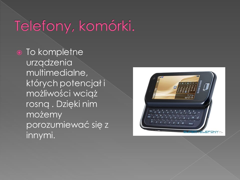 Telefony, komórki.