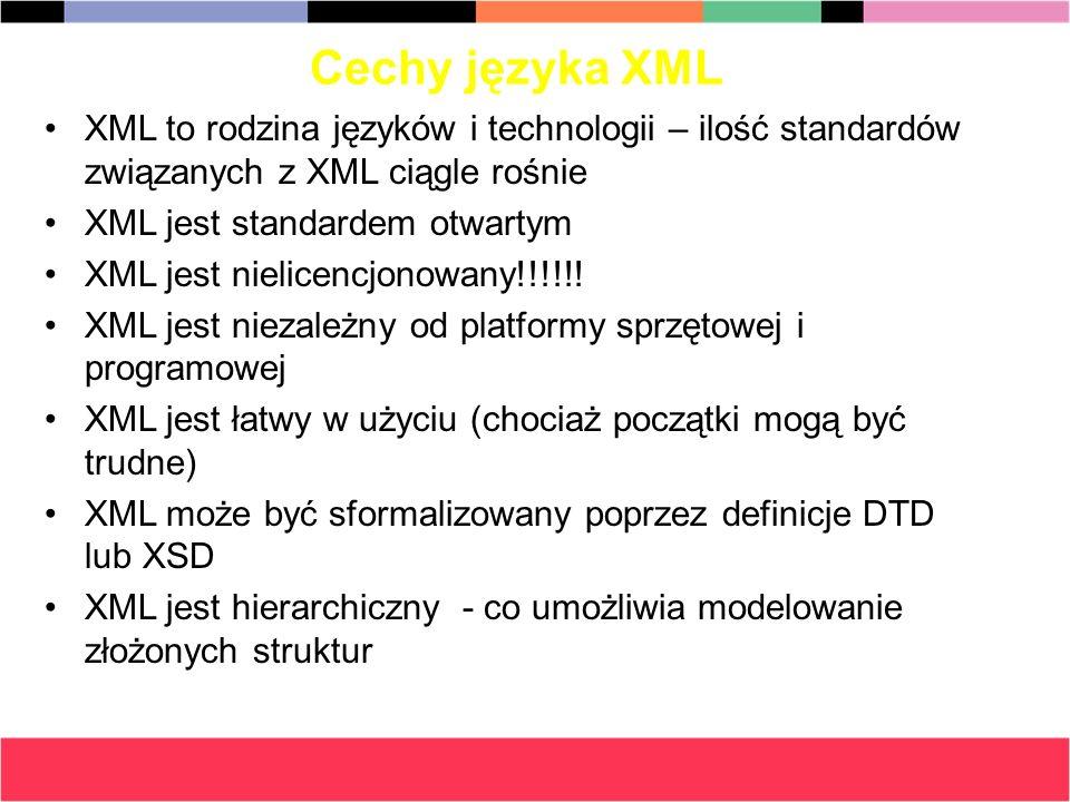 Cechy języka XML XML to rodzina języków i technologii – ilość standardów związanych z XML ciągle rośnie.