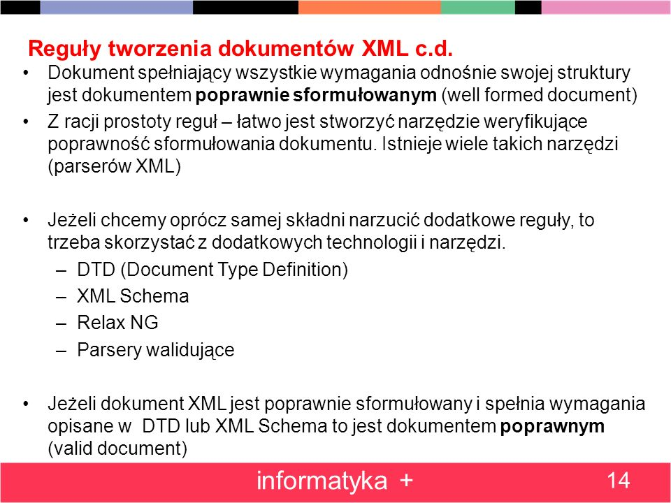 Reguły tworzenia dokumentów XML c.d.