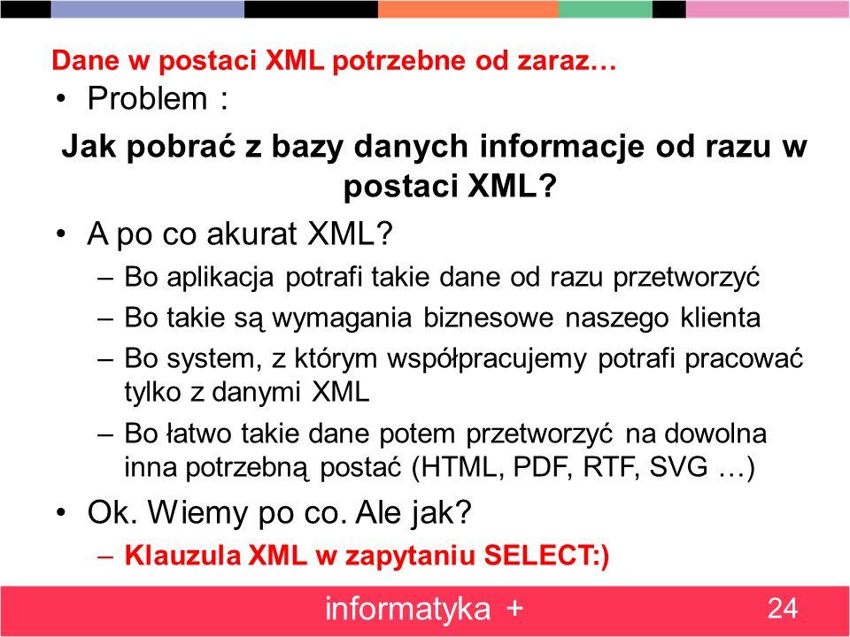Dane w postaci XML potrzebne od zaraz…