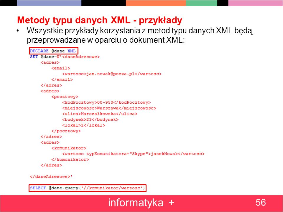 Metody typu danych XML - przykłady