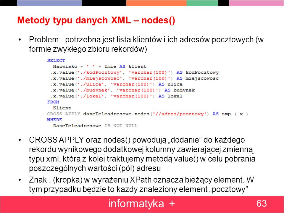 Metody typu danych XML – nodes()