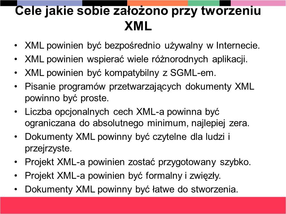 Cele jakie sobie założono przy tworzeniu XML