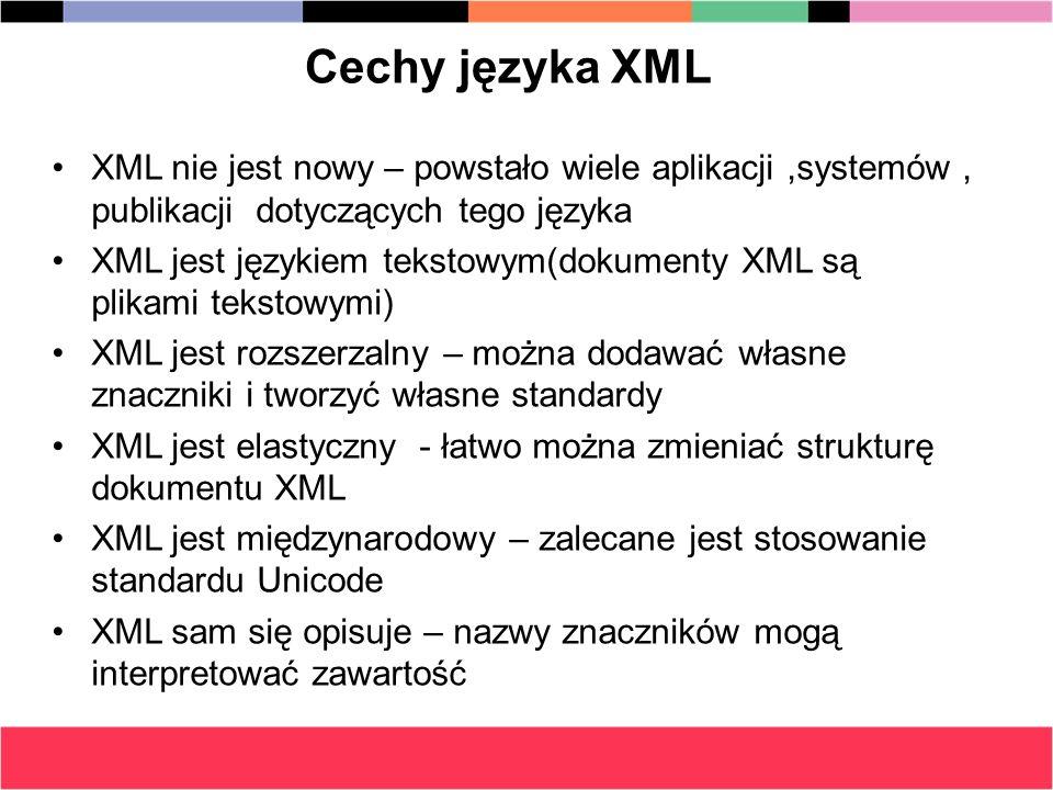 Cechy języka XML XML nie jest nowy – powstało wiele aplikacji ,systemów , publikacji dotyczących tego języka.