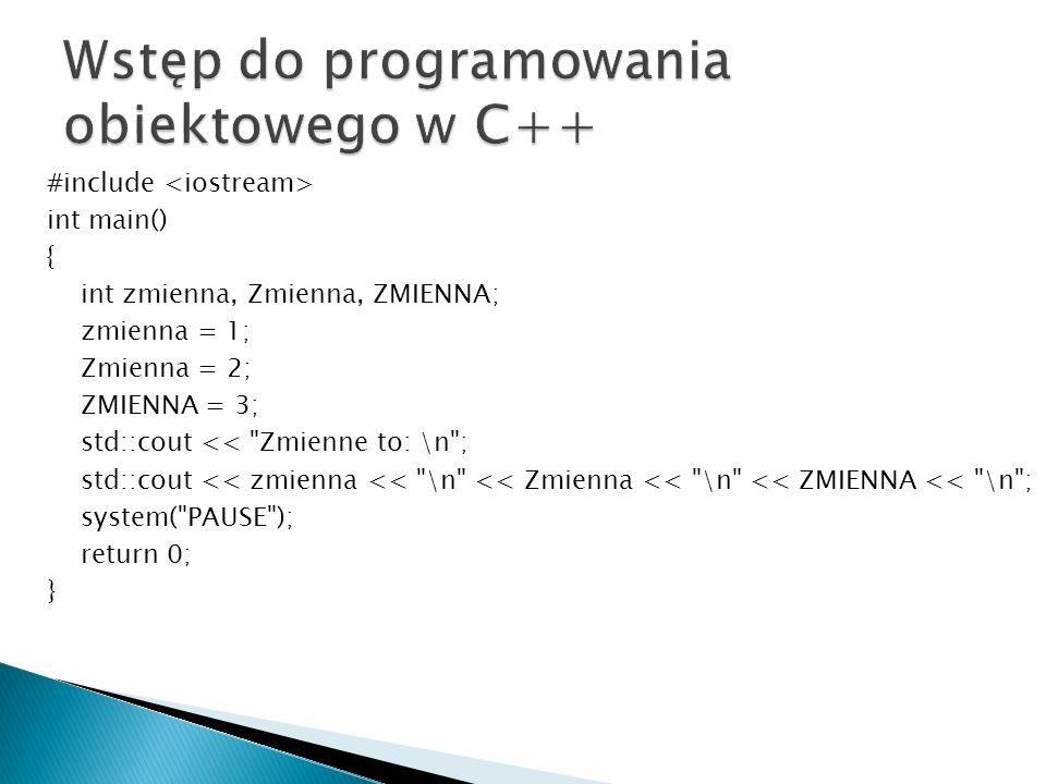 Wstęp do programowania obiektowego w C++
