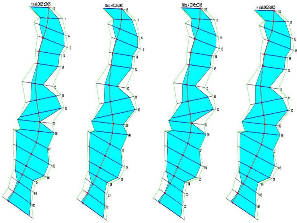 Wyniki Zalew delty środkowej rzeki Nidy wodą Q1%=375 m3/s dla czterech różnych wariantów oporu przepływu.