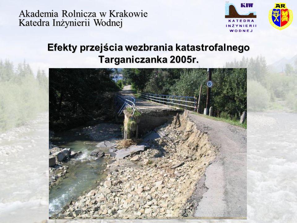 Efekty przejścia wezbrania katastrofalnego Targaniczanka 2005r.