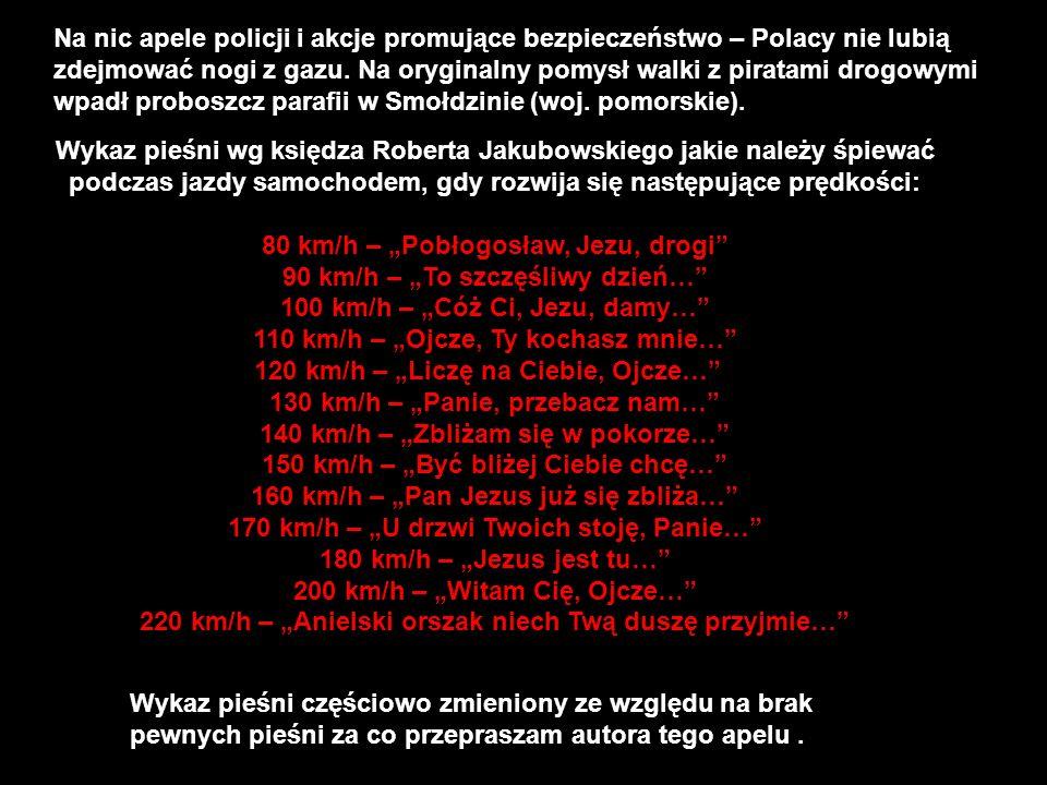 """80 km/h – """"Pobłogosław, Jezu, drogi 90 km/h – """"To szczęśliwy dzień…"""
