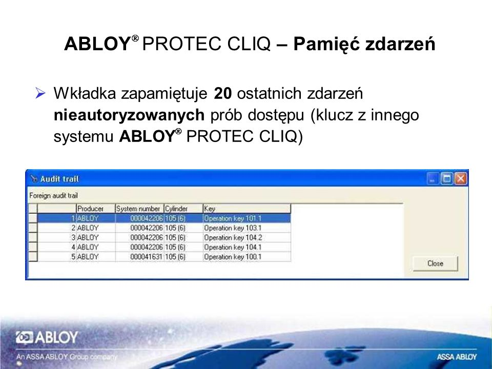ABLOYÒ PROTEC CLIQ – Pamięć zdarzeń