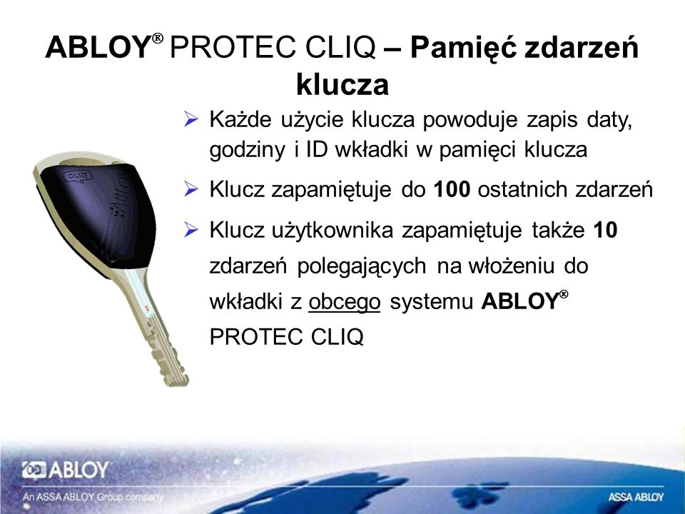 ABLOYÒ PROTEC CLIQ – Pamięć zdarzeń klucza