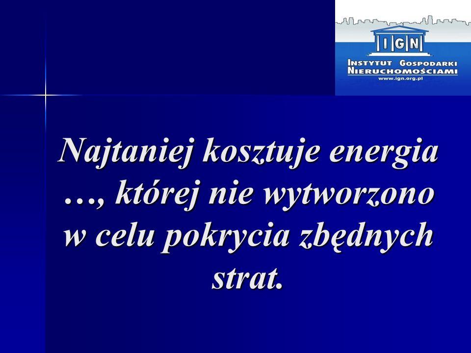 Najtaniej kosztuje energia …, której nie wytworzono w celu pokrycia zbędnych strat.