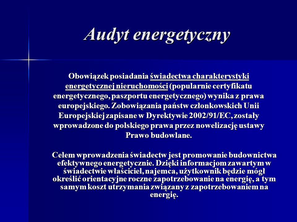 Audyt energetyczny Obowiązek posiadania świadectwa charakterystyki