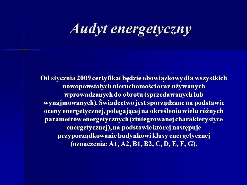 Audyt energetyczny Od stycznia 2009 certyfikat będzie obowiązkowy dla wszystkich. nowopowstałych nieruchomości oraz używanych.
