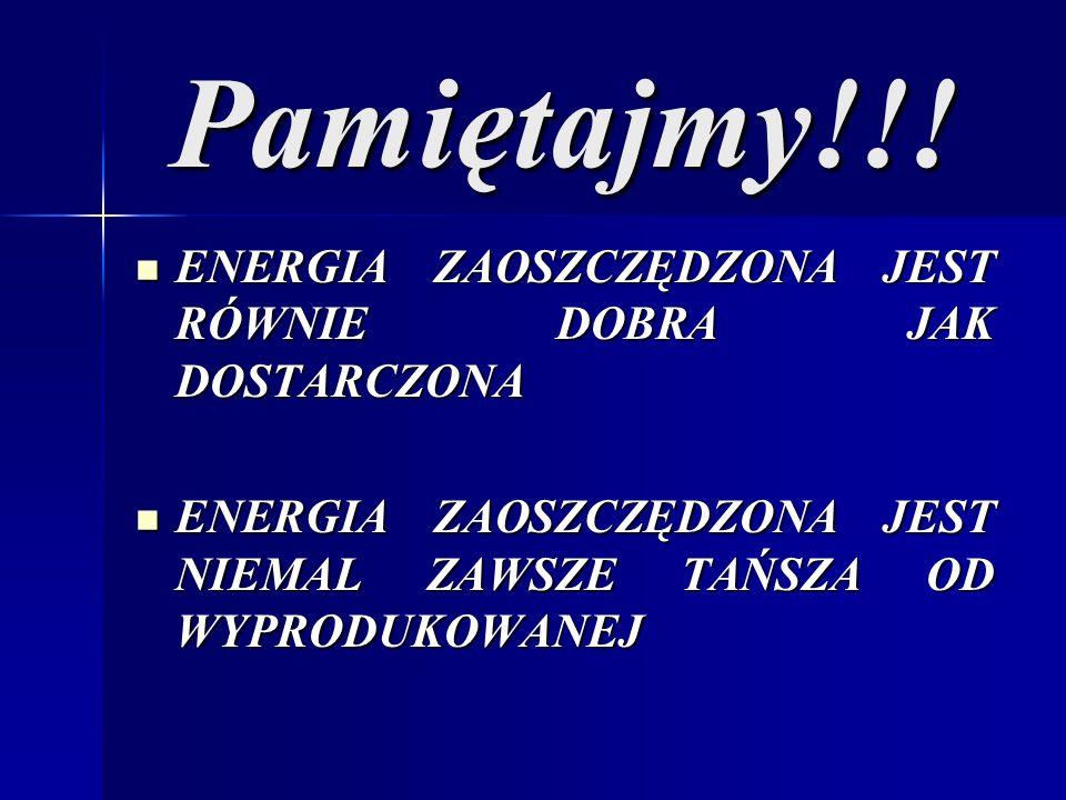 Pamiętajmy!!! ENERGIA ZAOSZCZĘDZONA JEST RÓWNIE DOBRA JAK DOSTARCZONA