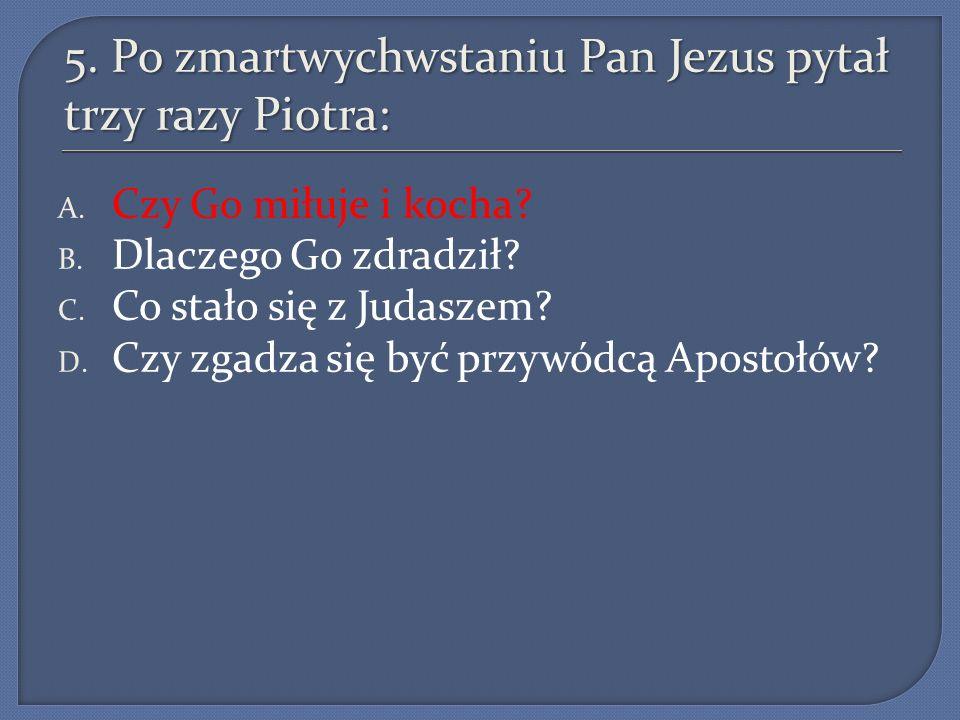 5. Po zmartwychwstaniu Pan Jezus pytał trzy razy Piotra: