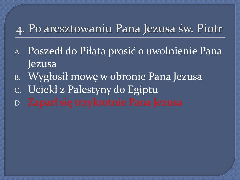 4. Po aresztowaniu Pana Jezusa św. Piotr