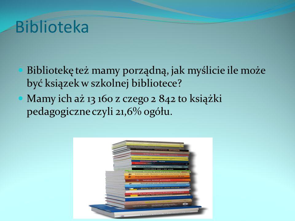 Biblioteka Bibliotekę też mamy porządną, jak myślicie ile może być ksiązek w szkolnej bibliotece