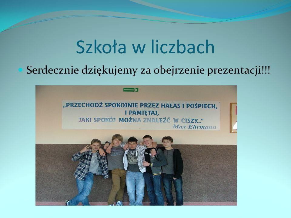 Szkoła w liczbach Serdecznie dziękujemy za obejrzenie prezentacji!!!