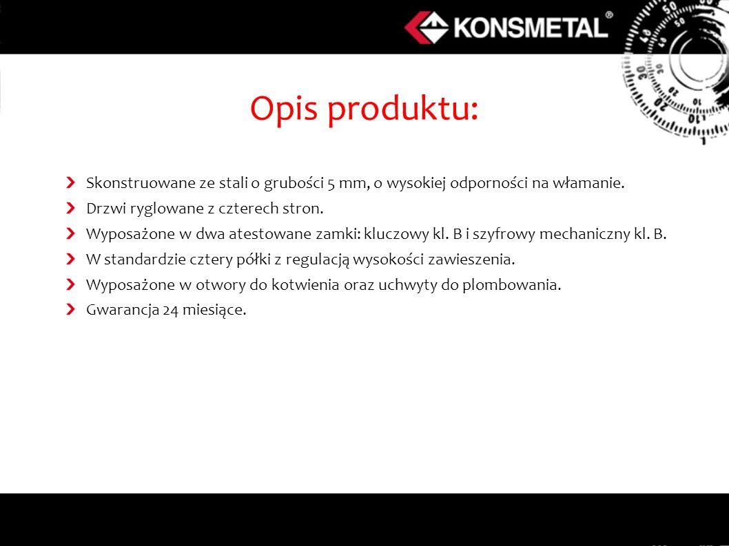 Opis produktu: Skonstruowane ze stali o grubości 5 mm, o wysokiej odporności na włamanie. Drzwi ryglowane z czterech stron.