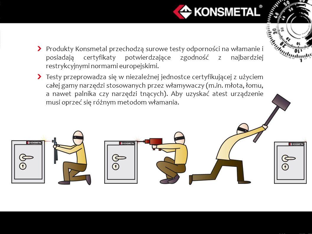 Produkty Konsmetal przechodzą surowe testy odporności na włamanie i posiadają certyfikaty potwierdzające zgodność z najbardziej restrykcyjnymi normami europejskimi.